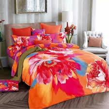 stylish watercolor 3d chinese rose orange and purple bedding set for girls orange bedding sets plan