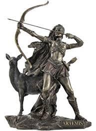artemis greek god. bronzed artemis goddess of hunting and wilderness statue greek god