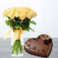yellow roses with heart shaped cake birthday gifts for dad bangalore