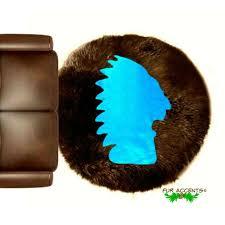 indian head bear skin area rug wall
