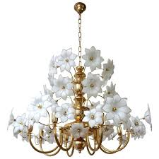 huge brass and glass flowers chandelier for hand blown id f