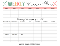 one week menu planner menu plans and shopping list printables the girl who ate