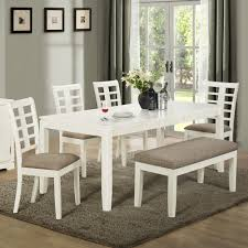f rectangle white stained oak wood dining table with bench using grey canvas upholstered seat on gray shag rug 2000x2000 charming shag rugs