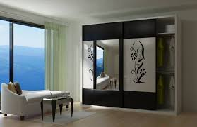 modern wardrobe with sliding door and large mirror idea feat