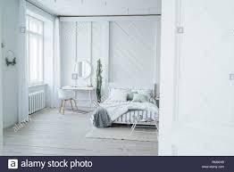 Skandinavische Moderne Gemütliche Eco Innenraum Weiß Tisch Und