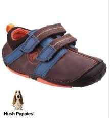 hush puppies baby boys eddy leather brown riptape first shoes uk infant 3 bnib