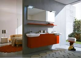 modern bedroom with bathroom. Inspiring Ideas Bathrooms Design : Awesome Bathroom Style Interior With Orange Suspended Cabinet Over The Rectangular Modern Bedroom