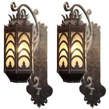 fabulous pair large bronze copper art deco sconces modernism iron exterior double candle wall small glass light shades antique lights battery powered lamp
