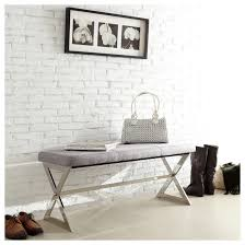 Inspire Q Ornelas Metal Base Linen Bench - Gray. With its chic, contemporary  style ...