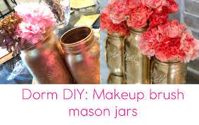 mason jar makeup brush holder. ♥dorm decor diy #1: mason jar makeup brush holder! (pinterest inspired) holder