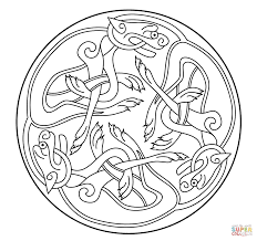 Celtic Ornament Design from Book of Kells coloring page | Free ...