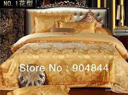 2017 high quality yellow golden luxury cotton silk blend jacquard bedding set beding duvet cover set black and white duvet sets blue duvet cover queen from