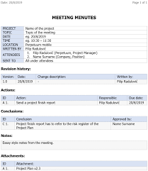 Minutes Of The Meeting Example Of Any Minutes A Meeting Agenda And Pdf Taken During