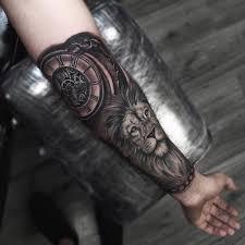 Half Arm Tattoo Lion Tattoo Clock Tattoo Tatuaggio Ingranaggi