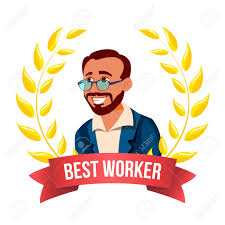 Emploee Of The Month Best Worker Employee Vector Turkish Man Award Of The Month
