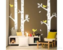 3 birch trees with birds and owl nursery birch tree wall decals  on birch tree wall art canada with birch tree wall decals with birds and owl set of 3 trees stickers