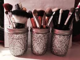 glittery makeup brush holder