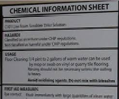 chemical information sheet communicate floor wet cleaning stf risks health and safety authority