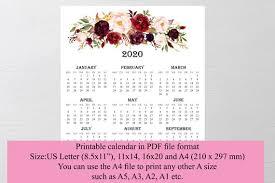 12 Months 2020 Calendar 2020 Large Wall Calendar Printable Wandkalender Monthly Calendar Floral Calendar 12 Month Calendar Decor Calendar Wall Calendar 2020 Monthly