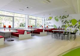 awesome office designs. Amazing White Table Wooden Flooring With Green Wall Office Interior Designs Attractive Design And Red Seating Unit Combined Awesome A
