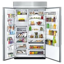 kitchen aid 48 refrigerator inch wide built in side by side refrigerator with finish in stainless kitchen aid 48 refrigerator