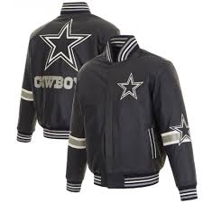 nfl dallas cowboys jh design leather varsity jacket with leather applique navy