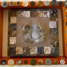 Framed Shadow Box - Minature Art Quilts - & Miniature Art Quilt -Pensive Cat Adamdwight.com