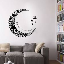 home depot wall decals crescent moon star living room bedroom pvc art vinyl mural removable wallpaper