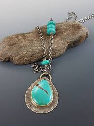 ooak necklace turquoise pendant large