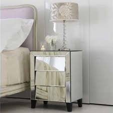 pedestal mirrored bedside table