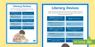 poetic devices chart literary devices poster literature reading grades 3 5