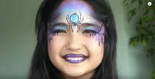 easy sparkly spider witch face paint makeup tutorial from sophiestips