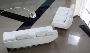 White Leather Living Room Modern Full Italian Leather 3pc Living Room Set Viper White