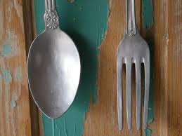 placed giant spoon and fork wall decor home design stylinghome with regard to large utensil