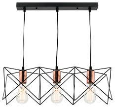 orlando 3 light metal cage pendant light with rose gold sockets modern pendant lighting by keria luminaires