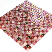 Glas Mosaikfliesen Naturstein Rot Rosa Gold - TM33101m