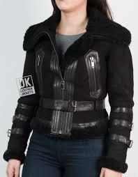 womens belted shearling sheepskin jacket alana black front
