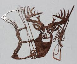 amazon buck bow and rifle metal wall art hunting decor home kitchen on metal wall art amazon with amazon buck bow and rifle metal wall art hunting decor home
