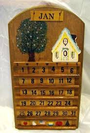 vintage wooden perpetual wall calendar house tree welcome antique