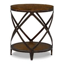 shortline round end table  distressed pine  american signature