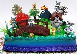 Amazoncom Tom And Jerry Birthday Cake Topper Set Featuring Tom And