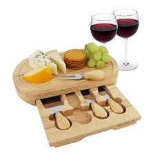 Cheese Board Set By StarBlue   With 4 Knives And Slide Out Drawer | Large  Oak