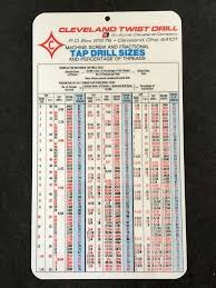 Silhouette Drill Charts Vtg Cleveland Twist Drill Co Decimal Equivalents Tap Sizes