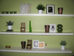 Decorations:Modular Modern Wall Shelf Decorating Ideas For Bookcase  Complete With Green Vase Decorating Floating