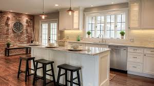 rustic white cabinets. Kitchen With Counter Depth Wide Windows Brick Wall Rustic White Cabinets