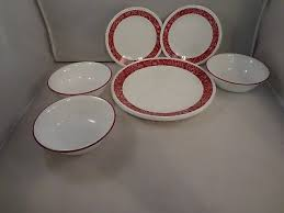 Corelle 8 Red \u0026 White Dinnerware Pieces Bandhani Pattern CORELLE RED - $12.75