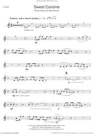 Brass Transposition Chart Diamond Sweet Caroline Sheet Music For Trumpet Solo Pdf