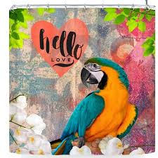 parrot shower curtain hello love parrot shower curtain parrot shower curtain hm