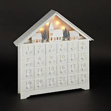 new white wood pre lit led xmas advent calendar decoration ornament