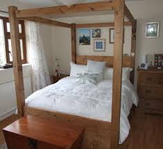 Pine Wood Bedroom Furniture Handmade Solid Pine Wood Chunky Full Four Poster Double Kingsize
